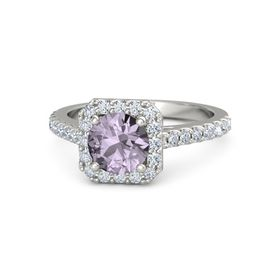 Round Rose de France Platinum Ring with Diamond