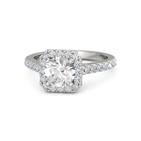 Round Rock Crystal Platinum Ring with Diamond