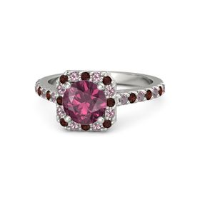 Round Rhodolite Garnet Platinum Ring with Red Garnet & Rhodolite Garnet
