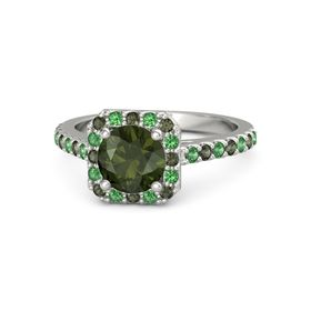 Round Green Tourmaline Platinum Ring with Green Tourmaline and Emerald