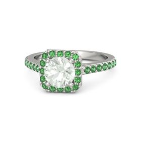 Round Green Amethyst Platinum Ring with Emerald