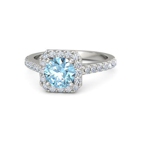 Round Aquamarine Platinum Ring with Diamond | Adele Ring ...
