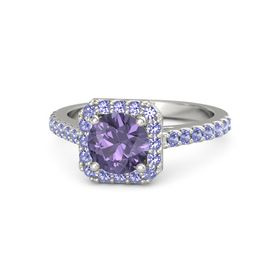 Round Iolite Platinum Ring with Iolite