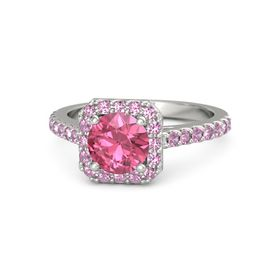 Round Pink Tourmaline Platinum Ring with Pink Sapphire and Pink Tourmaline
