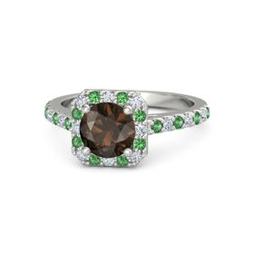 Round Smoky Quartz Platinum Ring with Diamond & Emerald