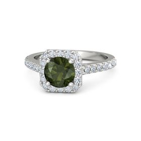 Round Green Tourmaline Platinum Ring with Diamond