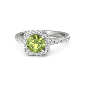 Round Peridot Platinum Ring with White Sapphire