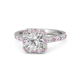 Round White Sapphire Sterling Silver Ring with Pink Sapphire & White Sapphire
