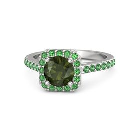Round Green Tourmaline Sterling Silver Ring with Emerald