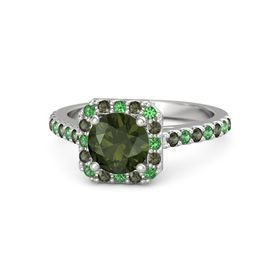 Round Green Tourmaline Sterling Silver Ring with Emerald and Green Tourmaline
