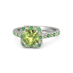 Round Peridot Sterling Silver Ring with Emerald and Peridot
