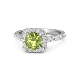 Round Peridot Sterling Silver Ring with White Sapphire