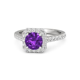 Round Amethyst Sterling Silver Ring with White Sapphire