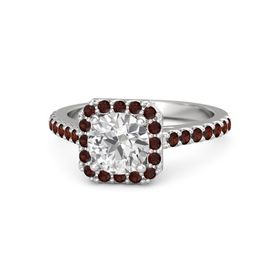 Round White Sapphire Sterling Silver Ring with Red Garnet