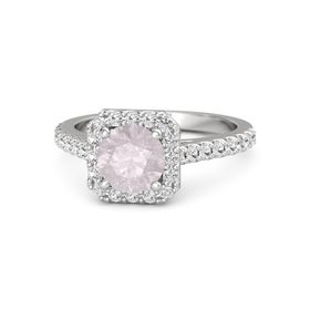 Round Rose Quartz Sterling Silver Ring with White Sapphire