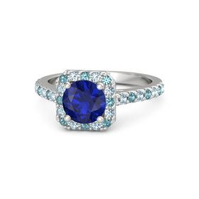 Round Blue Sapphire Sterling Silver Ring with London Blue Topaz and Aquamarine