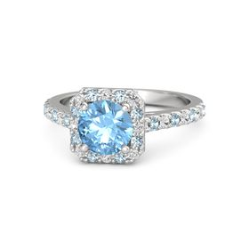Round Blue Topaz Sterling Silver Ring with White Sapphire and Aquamarine