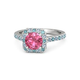 Round Pink Tourmaline Sterling Silver Ring with London Blue Topaz and Blue Topaz