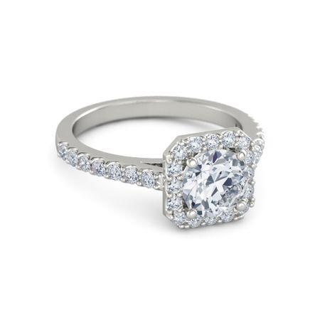 Round Diamond 14K White Gold Ring with Diamond | Adele ...
