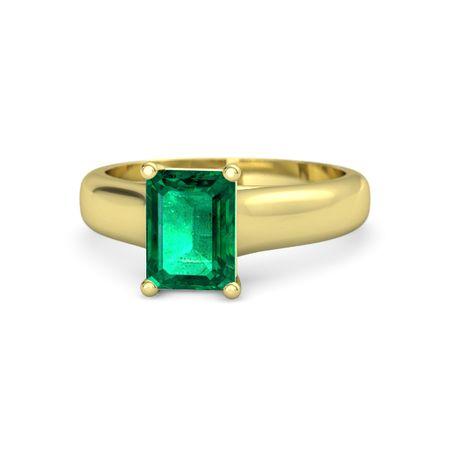 emerald cut emerald 14k yellow gold ring sleek emerald