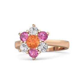 Round Fire Opal 14K Rose Gold Ring with Pink Tourmaline & White Sapphire