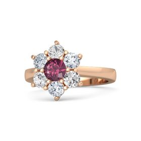 Round Rhodolite Garnet 14K Rose Gold Ring with Diamond and White Sapphire