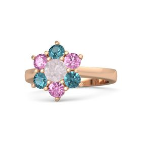 Round Rose Quartz 14K Rose Gold Ring with Pink Sapphire and London Blue Topaz