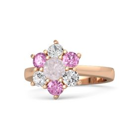 Round Rose Quartz 14K Rose Gold Ring with Pink Sapphire and White Sapphire