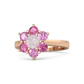 Round Rose Quartz 14K Rose Gold Ring with Pink Sapphire and Pink Tourmaline