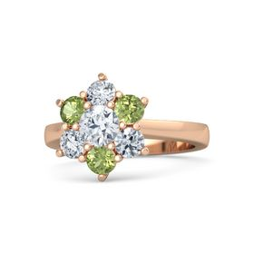 Round Moissanite 14K Rose Gold Ring with Peridot and Diamond