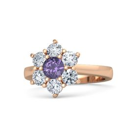 Round Iolite 14K Rose Gold Ring with Diamond