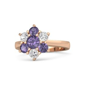 Round Iolite 14K Rose Gold Ring with White Sapphire and Iolite