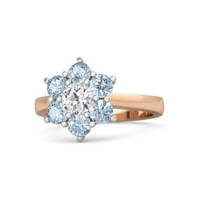 Round White Sapphire 14K Rose Gold Ring with Aquamarine