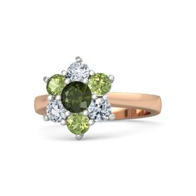 Round Green Tourmaline 14K Rose Gold Ring with Peridot and Diamond
