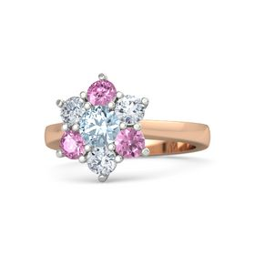 Round Aquamarine 14K Rose Gold Ring with Diamond and Pink Sapphire