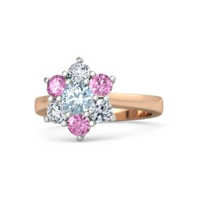 Round Aquamarine 14K Rose Gold Ring with Pink Sapphire and Diamond