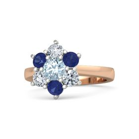 Round Aquamarine 14K Rose Gold Ring with Blue Sapphire and Diamond