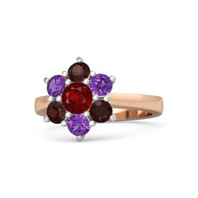 Round Ruby 14K Rose Gold Ring with Amethyst and Red Garnet