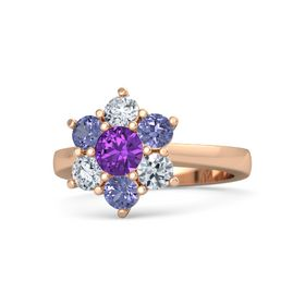 Round Amethyst 14K Rose Gold Ring with Tanzanite and Diamond