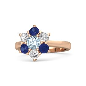 Round Aquamarine 14K Rose Gold Ring with White Sapphire & Sapphire