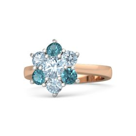 Round Aquamarine 14K Rose Gold Ring with Aquamarine & London Blue Topaz