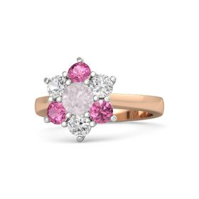 Round Rose Quartz 14K Rose Gold Ring with White Sapphire and Pink Tourmaline