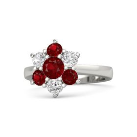 Round Ruby 14K White Gold Ring with White Sapphire & Ruby