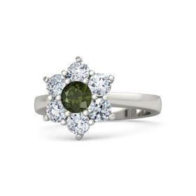 Round Green Tourmaline 14K White Gold Ring with Diamond