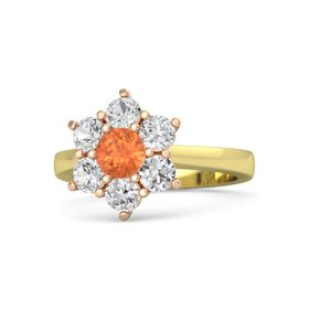 Round Fire Opal 14K Yellow Gold Ring with White Sapphire