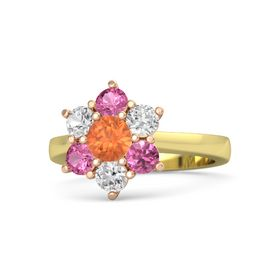 Round Fire Opal 14K Yellow Gold Ring with White Sapphire and Pink Tourmaline
