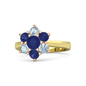 Round Blue Sapphire 14K Yellow Gold Ring with Blue Sapphire and Aquamarine