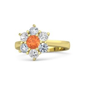 Round Fire Opal 14K Yellow Gold Ring with White Sapphire & Diamond