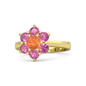 Round Fire Opal 14K Yellow Gold Ring with Pink Tourmaline