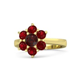 Round Red Garnet 14K Yellow Gold Ring with Ruby